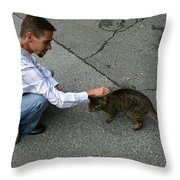 Alley Cat Greeting Throw Pillow