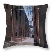 Alley With Fire Escape Layered Throw Pillow