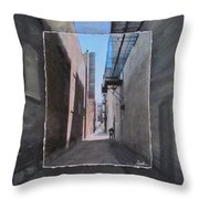 Alley With Guy Reading Layered Throw Pillow by Anita Burgermeister