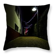 Alley With Lights Throw Pillow