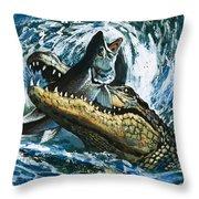 Alligator Eating Fish Throw Pillow