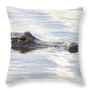 Alligator With Sky Reflections - A Closer View Throw Pillow