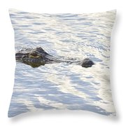 Alligator With Sky Reflections Throw Pillow