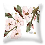 Almond Branch With Flowers And Leaves Throw Pillow