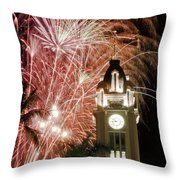 Aloha Tower Fireworks Throw Pillow