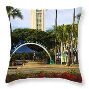 Aloha Tower Throw Pillow