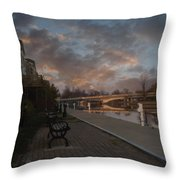 Along The Menasha Riverfront Throw Pillow