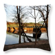 Alongside The Uhlerstown Frenchtown Bridge Throw Pillow