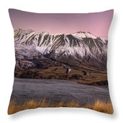 Alpenglow Over The Clyde River Throw Pillow
