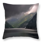Alpine Lake With Sunlight Throw Pillow by Mats Silvan