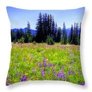 Alpine Meadow V At Mount Rainier Throw Pillow