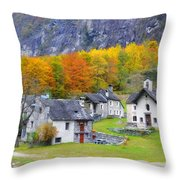 Alpine Village In Autumn Throw Pillow