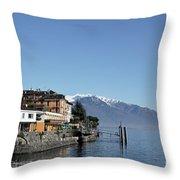 Alpine Village On The Lake Front Throw Pillow