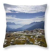 Alps And Road Throw Pillow