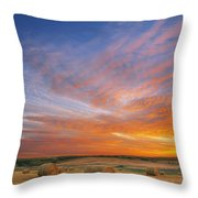 Amazing Sunset Over Pasture Throw Pillow
