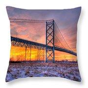 Ambassador Bridge Sunrise 1-16-2012  Detroit Mi Throw Pillow