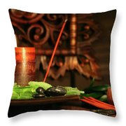 Amber Colored Candles Throw Pillow