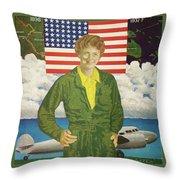Amelia Earhart Calendar Art Throw Pillow