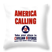 America Calling -- Civilian Defense Throw Pillow