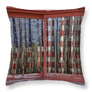 America Still Beautiful Red Picture Window Frame Photo Art View Throw Pillow