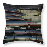 American Airlines Passenger Jets Throw Pillow