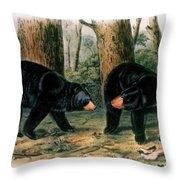 American Black Bear, 1844 Throw Pillow