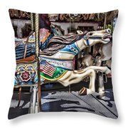 American Carousel Horse Throw Pillow