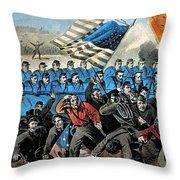 American Civil War, Battle Of Malvern Throw Pillow by Photo Researchers