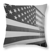 American Flag At Nathan's In Black And White Throw Pillow