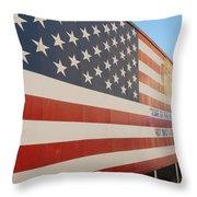 American Flag At Nathan's Throw Pillow