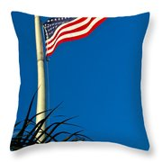 American Flag Flying Over The Palms Throw Pillow