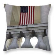 American Flags Hang In The Amphitheatre Throw Pillow