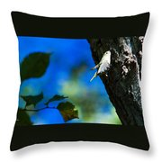American Goldfinch Leaving Throw Pillow