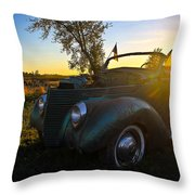 American Hot Rod Sunset Throw Pillow