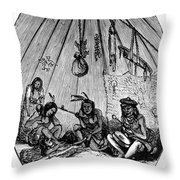 American Indian Medicine Lodge, 1868 Throw Pillow
