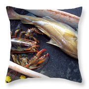 American Lobster And Cod Caught Off Chatham On Cape Cod Throw Pillow