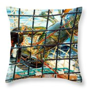 American Lobster In Trap In Chatham On Cape Cod Throw Pillow