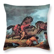 American Prairie Hunters Using Fire Throw Pillow