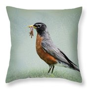 American Robin With Worms Throw Pillow