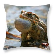 American Toad Croaking Throw Pillow