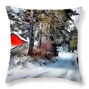 Amish Boy On Bike Throw Pillow by Tom Schmidt