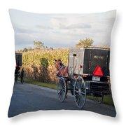Amish Buggies October Road Throw Pillow