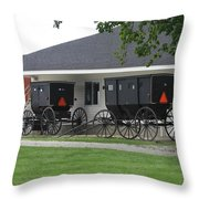 Amish Buggies Parked Throw Pillow