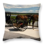 Amish Buggies Throw Pillow