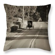 Amish Buggy - Lancaster County Pa Throw Pillow