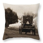Amish Buggy And Wagon Throw Pillow