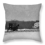 Amish Buggy Black And White Throw Pillow