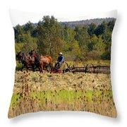 Amish Farming Throw Pillow
