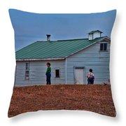 Amish School Throw Pillow