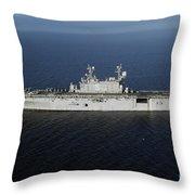 Amphibious Assault Ship Uss Peleliu Throw Pillow
